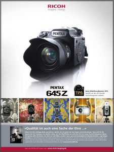 CameraSelfies in a Pentax/Ricoh campaign for the Pentax 645Z