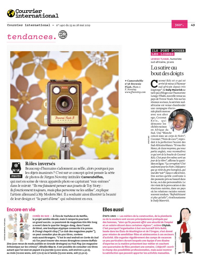 CAmeraSelfies in french magazine Courrier International