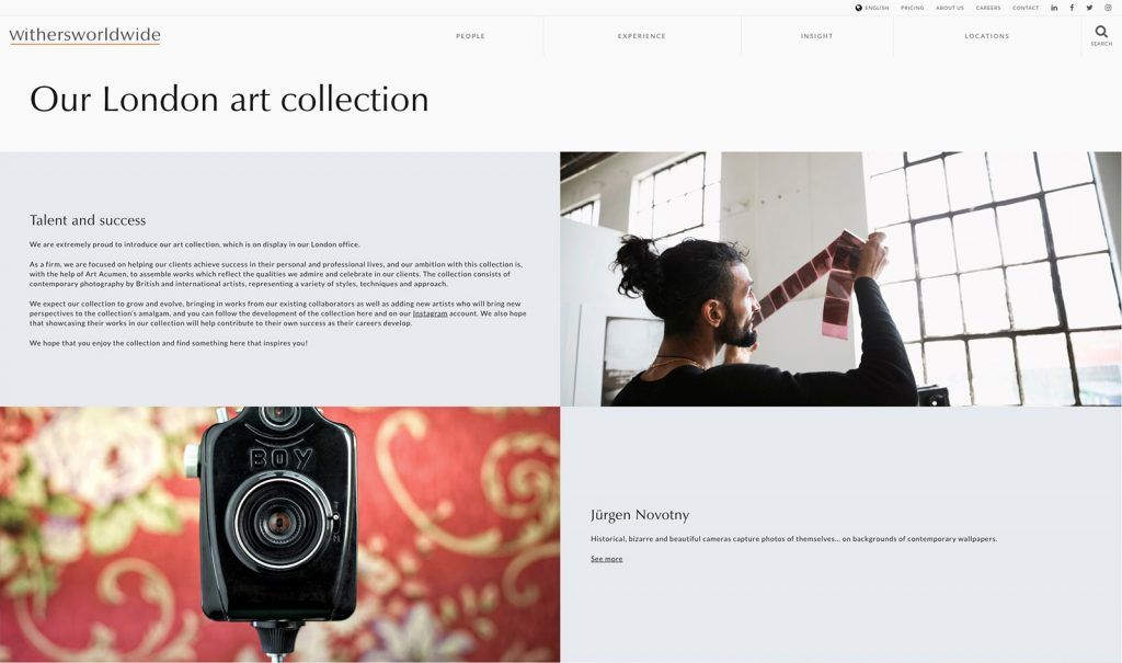 CameraSelfies exhibited at art collection Withersworldwide London