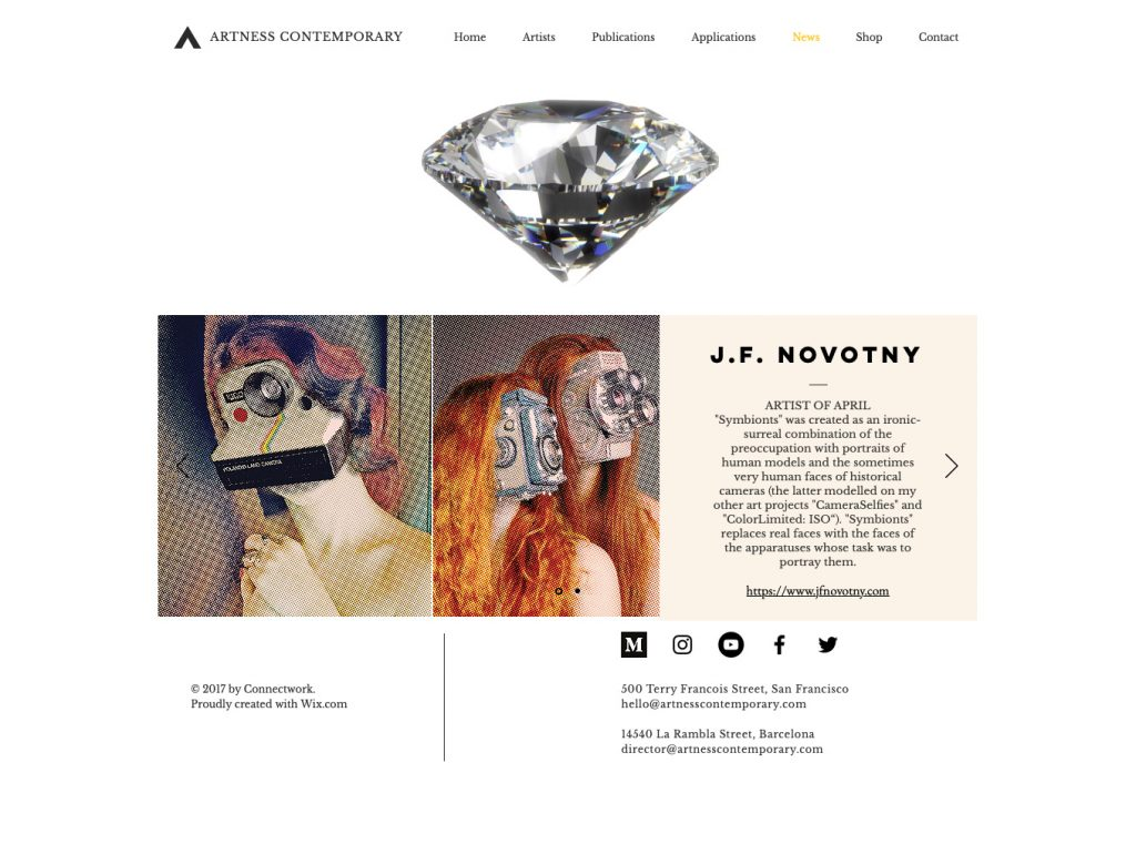 J. F. Novotny nominated for artist of the month at Artness Contemporary magazine